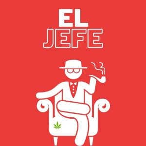 boss guy sitting on chair smoking a pipe on red background with text El jefe