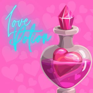 potion with heart inside on pink background and phrase Love Potion