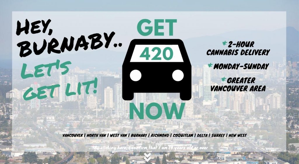 photo of Burnaby with Get420Now weed delivery car