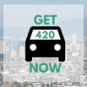Burnaby background with Get420Now car logo as button to shop Burnaby weed delivery