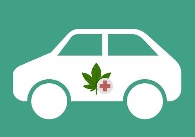 photo of cannabis delivery car with medical marijuana leaf on the side