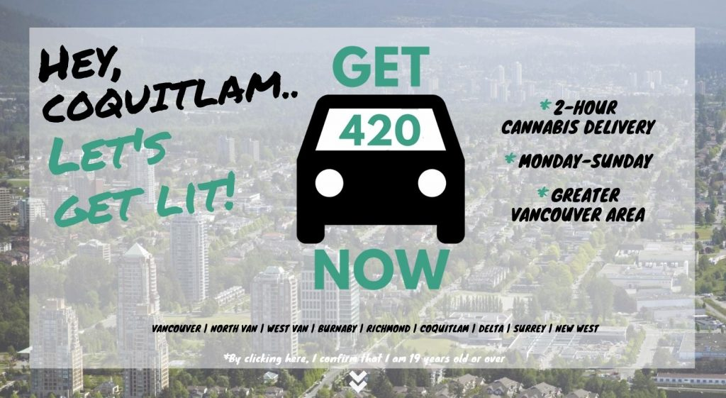 photo of Coquitlam with Get420Now weed delivery car