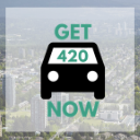 Coquitlam background with Get420Now car logo as button to shop Coquitlam weed delivery