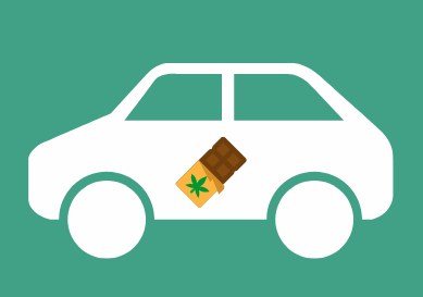 drawing of weed delivery vancouver car with drawing of marihuana edible chocolate bar to indicate edibles category