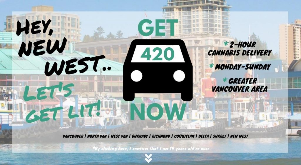 photo of new westminster with Get420Now weed delivery car