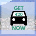 North Vancouver background with Get420Now car logo as button to shop North Vancouver weed delivery