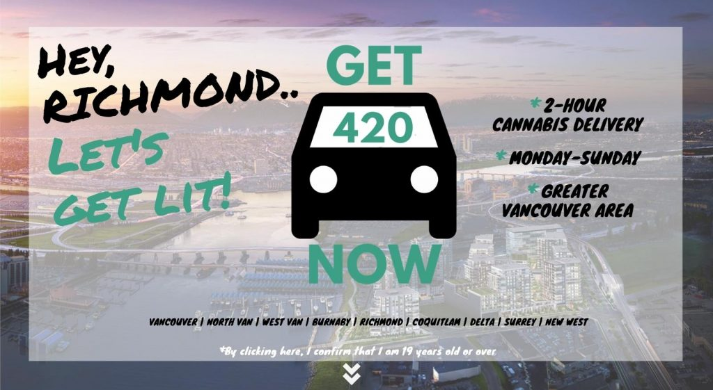 photo of the city of richmond with Get420Now weed delivery logo