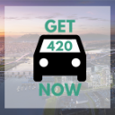 Richmond background with Get420Now car logo as button to shop Richmond weed delivery