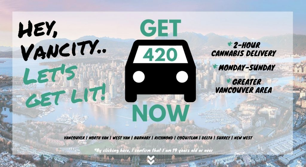 photo of vancouver with Get420Now weed delivery car