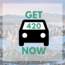 Vancouver background with Get420Now car logo as button to shop Vancouver weed delivery