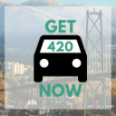 West Vancouver background with Get420Now car logo as button to shop West Vancouver weed delivery