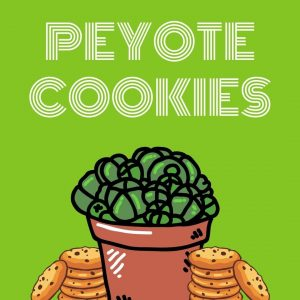 peyote plant and cookies on green background for Peyote Cookies Get420Now strain