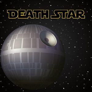 death star vector on starry background