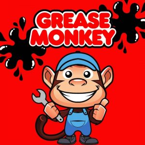 monkey with blue mechanic outfit and grease spots