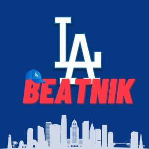 LA Dodgers logo and city skyline with blue hat and letters Beatnik