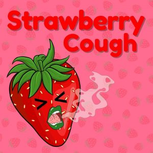 coughin strawberry with green lips