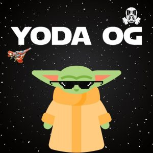 Baby yoda with thug glasses and spaceshit