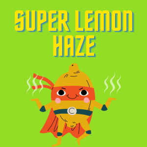 lemon dressed as super hero on green background super lemon haze strain review