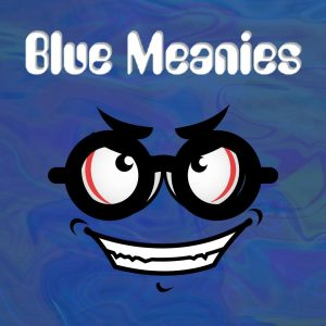 blue mean face with black glasses for blue meanies strain review