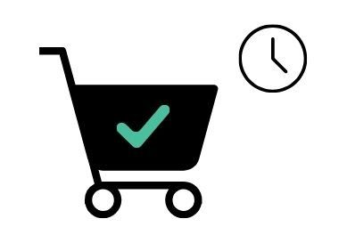 drawing of online shopping cart and clock to choose delivery time
